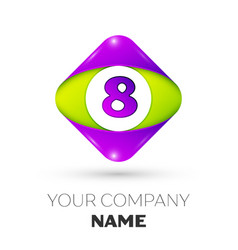 Number eight symbol in the colorful rhombus vector