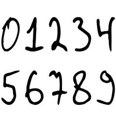 Numbers written marker casually askew vector image vector image