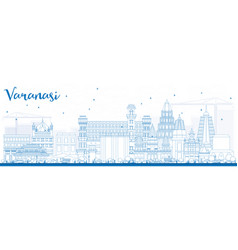 Outline varanasi skyline with blue buildings vector