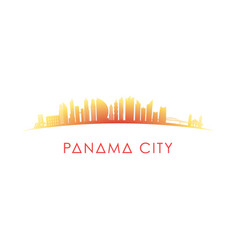 Panama city skyline silhouette design colorful vector