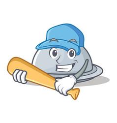 Playing baseball tray character cartoon style vector
