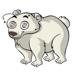 Polar bear with dizzy eyes vector