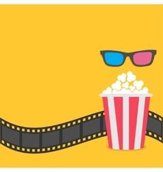 Popcorn film strip border 3d glasses red striped vector