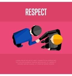 Respect banner top view partners handshaking vector
