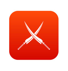 Samurai swords icon digital red vector