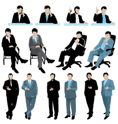 Set of business people silhouettes isolated on vector