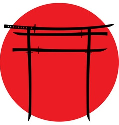 Silhouette of torii gate with japanese swords vector