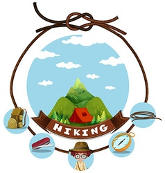 Travel theme with hiking in mountain vector image vector image
