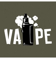 Vape device and smoke on grey vector