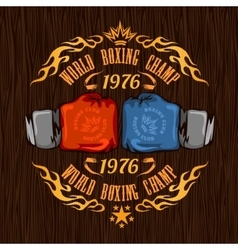 Vintage logo for a boxing - gold on wood vector