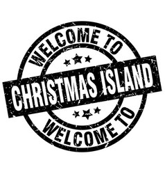 welcome to christmas island black stamp vector image vector image