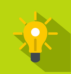 Yellow glowing light bulb icon flat style vector