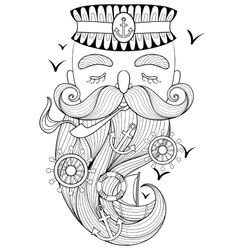 Zentangle old sailor smoking a pipe vector