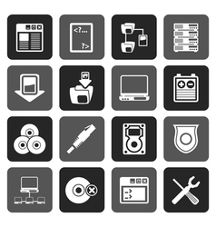 Flat Server Side Computer icons vector image