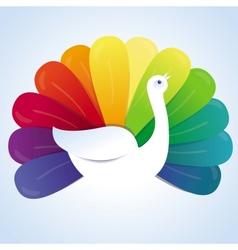 peackok bird with rainbow feathers vector image