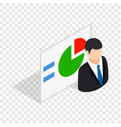 Man and statistics isometric icon vector