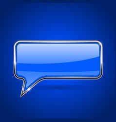 Speech bubble blue 3d icon with chrome frame vector