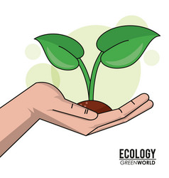 Ecology green world hand with sprout plant design vector