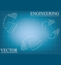 Machine-building drawings on a blue - gray vector