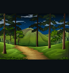 Forest scene with trail to the mountain vector