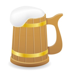 Wooden beer mug 02 vector