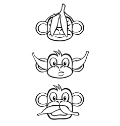 Three wise monkeys black and white vector image