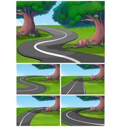 Five scenes of road in the park vector