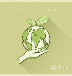 Globe in hand save the earth concept design vector