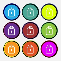 Lock icon sign nine multi colored round buttons vector