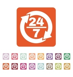 The 24 7 icon open and assistance support symbol vector