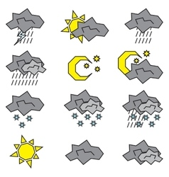 Icon set weather logos vector
