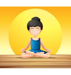 A girl concentrating while doing yoga vector