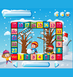 Boardgame template with kids in winter vector
