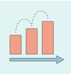 Business graph with red rising bar vector