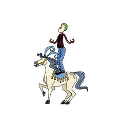 Carnival circus fun fair clown and horse juggling vector