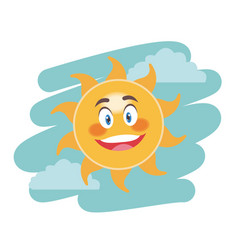 Cheerful cartoon sun facial expression image vector