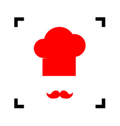 chef hat and moustache sign red icon vector image vector image