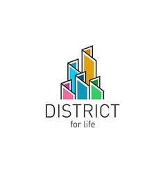 Colorful real estate buildings contour logo vector