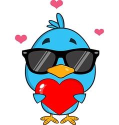 Cute Bird Holding a Love Heart Cartoon vector image