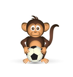 cute chimpanzee holding fooball ball sport little vector image vector image