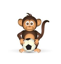 cute chimpanzee holding fooball ball sport little vector image