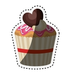 Delicious cupcake birthday card vector