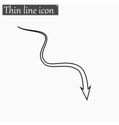 Down arrow icon Style thin line vector image vector image