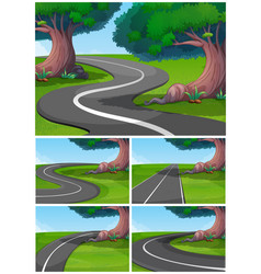 five scenes of road in the park vector image vector image