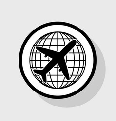 Globe and plane travel sign flat black vector