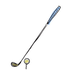 Golf club and ball hand drawn isolated icon vector