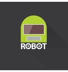 green robot head logo design vector image vector image