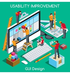 Gui design people isometric vector