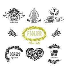 Hand drawn natural logos vector