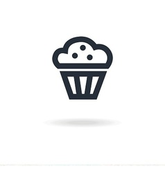 icon maffin with cream vector image vector image
